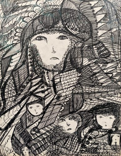 Artwork by Madge Gill, Untitled, c.1950s, Ink on paper, on loan from a private collection