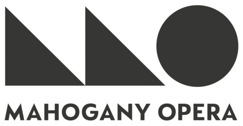 Mahogany Opera logo, which is a stylised M made of two triangles and an O as a circle both solid black on the top line and then Mahogany Opera spelt out in block letters on the bottom line.