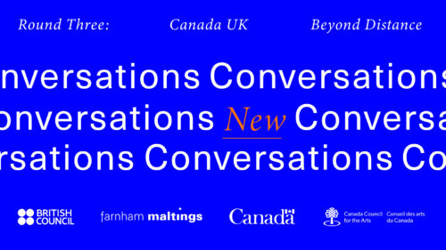A blue rectangle with white italic writing at the top that reads:  Round Three: Canada UK Beyond Distance. In the middle the word Conversations is repeated in white text and New is in the middle in orange underlined italics.