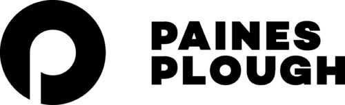 Paines Plough logo. A black circle with a white P cut out of it next to Paines Plough in black bold capital letters.