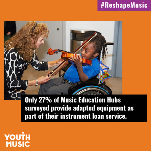 Image of a white woman supporting a young black toddler in a wheelchair to play the violin