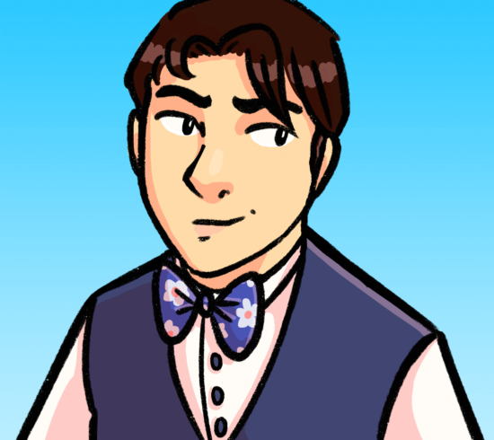 A digital illustration of a young man wearing a waistcoat and bow tie. He has short brown hair. He is smiling slightly.