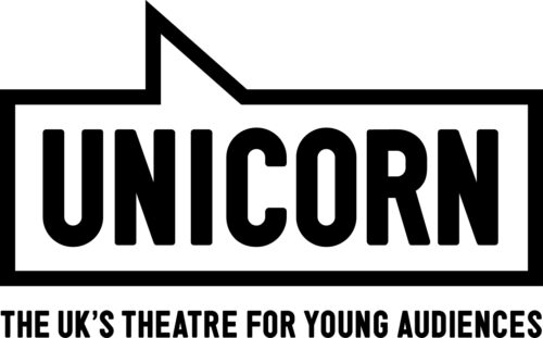 Unicorn logo - the word Unicorn in a blocky black font in a rectangular speech bubble. The UK's theatre for young audiences is written in black capitals below.
