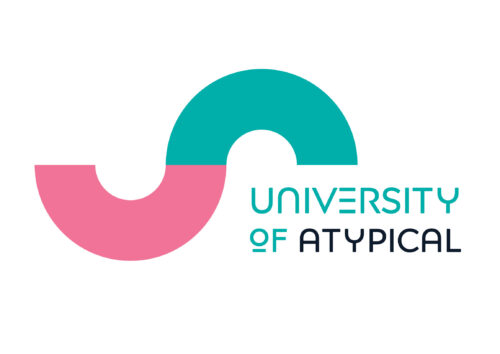 The University of Atypical logo features an S shape, turned on its side like a ~ symbol, in turquoise and pink. The text 'University of Atypical' is capitalised and rendered in turquoise and black.
