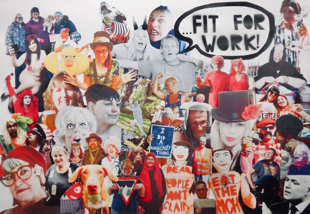 collage with spray text: fit for work