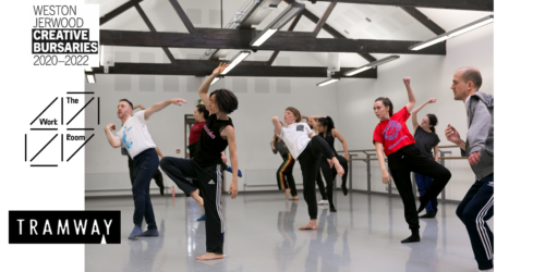 People dancing during class in a professional dance studio, logos for The Work Room, Tramway and Jerwood