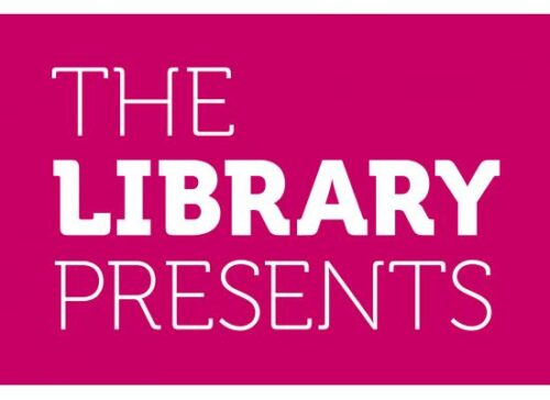This is The Library Presents logo, it has a pink background and has the words 'The Library Presents' in white font.
