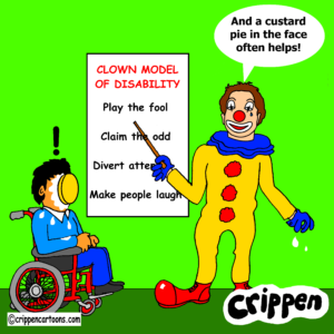 A caricature of Stephen dressed as a clown, addressing a wheelchair-user with a pie in his face