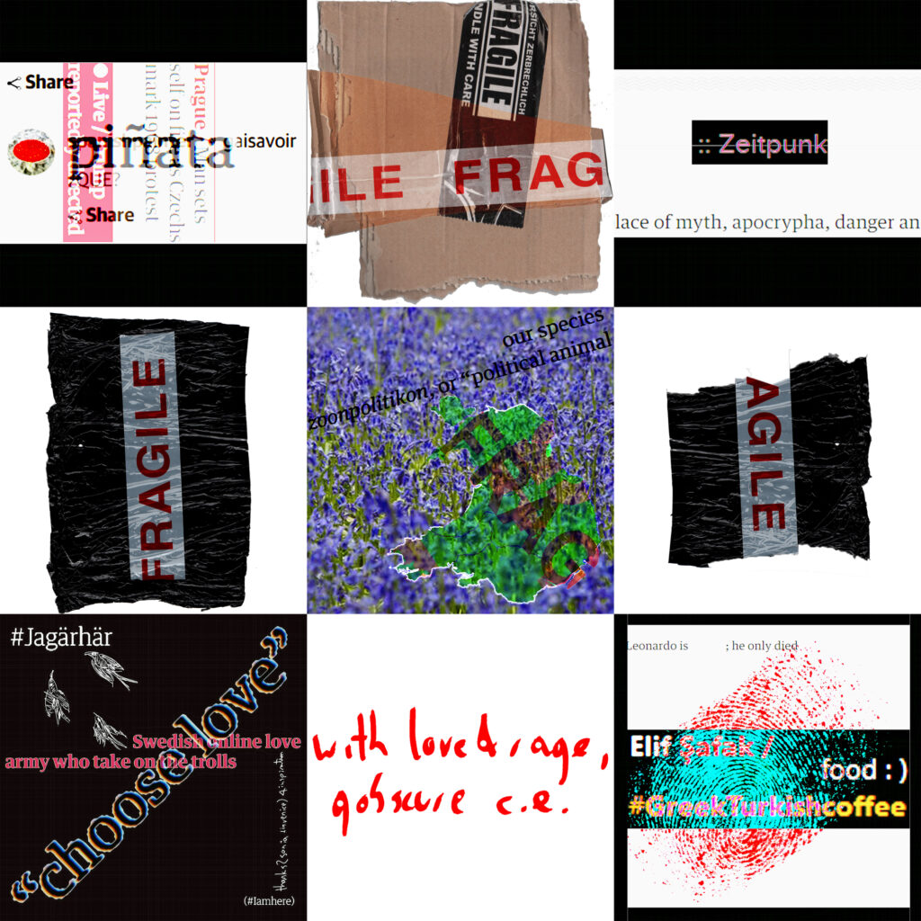 Composite image featuring fragile tape, and multiple squares containing text including with love & rage gobscure c.e.