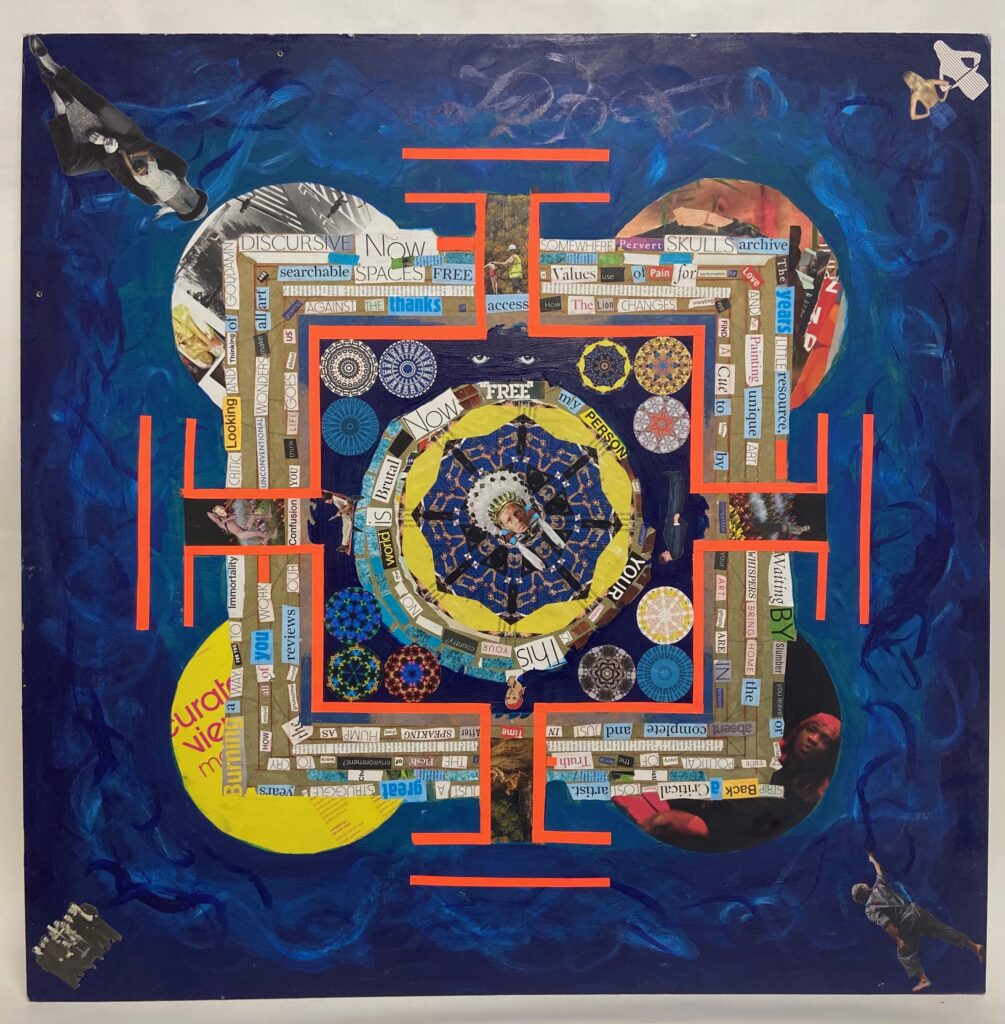 Collage representing the arts sector as an impenetrable fortress which tkaes the form of a square mandala