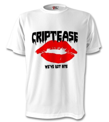 Tshirt with red lips and the words Criptease on it.