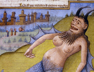A drawing from the 15th Century of a pregnant woman with a beard and horns