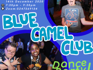 A flyer for the Blue Camel Dance Party with photos of people dancing and having fun and details of the event from the listing.