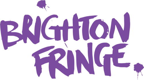 Brighton Fringe painted in purple on a white background.