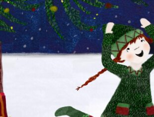 An illustration of a young girl with plaited pigtails wearing a green hat and jumper. She is smiling and her arms are up in the air. It is snowy and she is next to a tree with presents beside it.