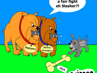 cartoon of two large dogs bullying a smaller dog
