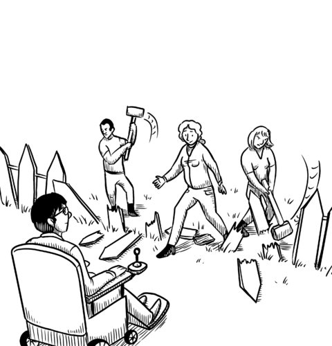 a line drawing of free individuals breaking down a fence to reach a wheelchair-user