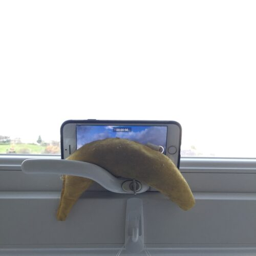 a mobile phone is wedged onto the handle of a window with a banana shaped cat toy