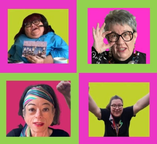 Composite image of four disabled woman set within pink and green squares