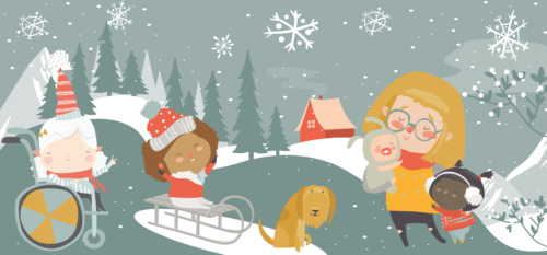 Artwork containing a cartoon of a family playing in the snow.