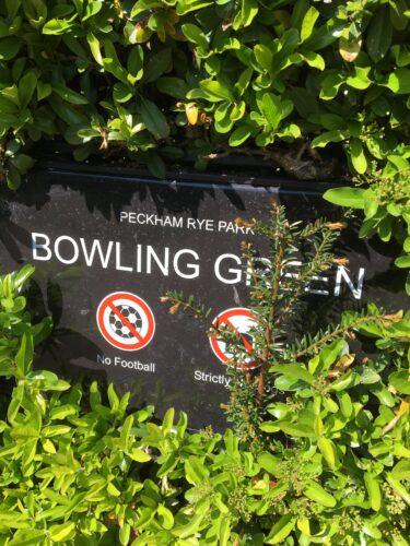 Peckham Rye Bowling Green Sign