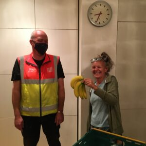 Tesco Delivery Man and Liz holding bananas