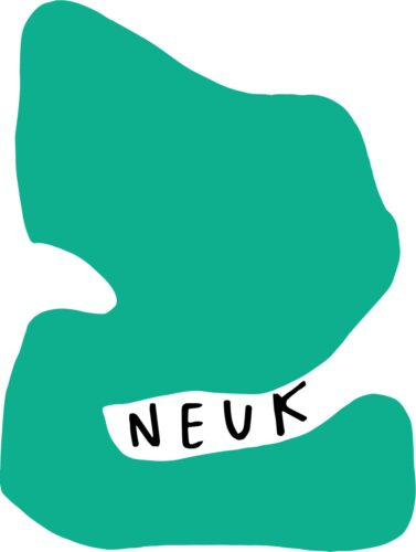 Image shows the word Neuk handwritten in capitals, nestled inside a green abstract shape that appears to be enveloping and surrounding it. Logo design by Max Alexander with Robyn Benson.