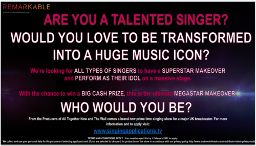 Image of the Casting Flyer reads: Are you a talented singer? Would you love to be transformed into a huge music icon? We're looking for all types of singers to have a superstar makeover and perform as their idol on a massive stage. With the chance to win a big cash prize, this is the ultimate megastar makeover. Who would you be?
