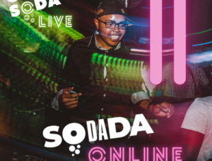 A member of Club Soda is smiling and dancing at a club night, under a disco ball. There are pink neon vertical lines to the right of him. In the top left corner it says 'Club Soda Live' in white and neon green text. Centre bottom to the image it reads 'SoDaDa Online' in white and neon pink text.