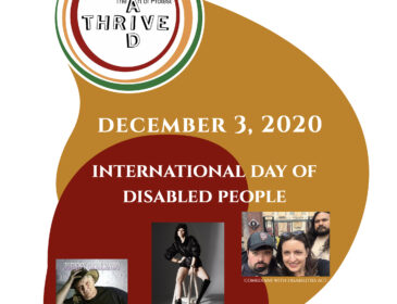 Event banner with red and orange shapes. It features five white disabled performers
