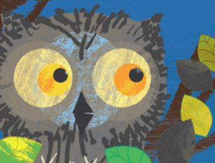 An illustration of an an owl surrounded by branches and leaves.