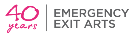 40 years in pink handwritten text next to grey capital text that reads: Emergency Exit Arts.