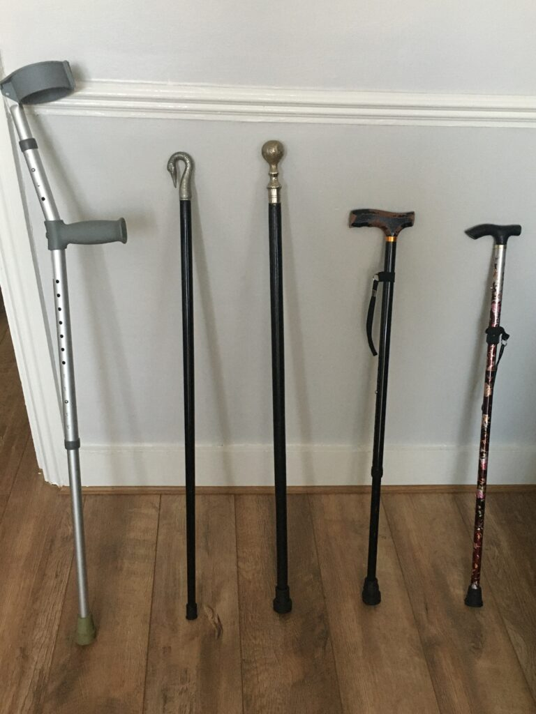 photo of a series of walking sticks against a wall