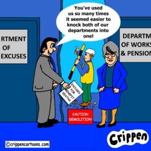 cartoon about DWP excuses