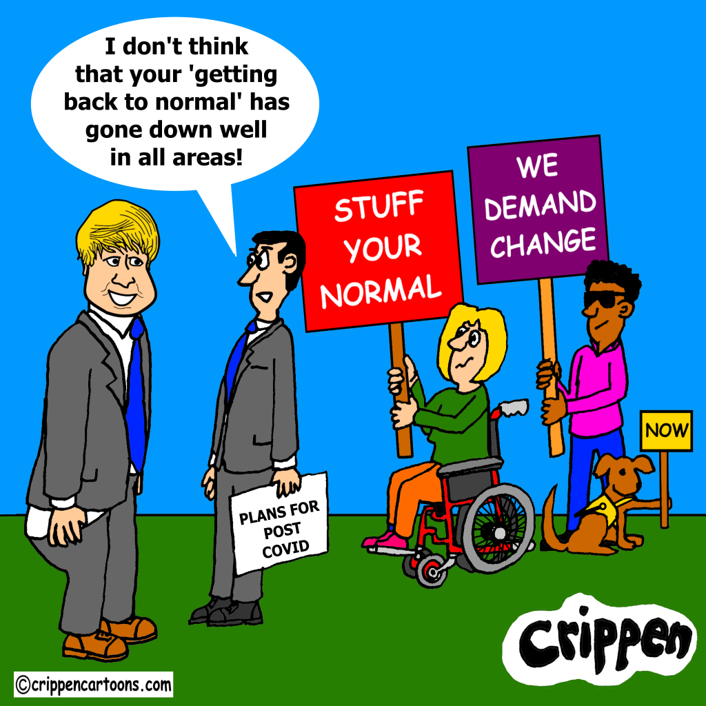a cartoon about the need to change society after Covid