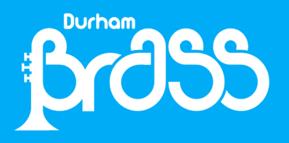 Durham Brass in white on a blue background. The upright of the B takes the form of a brass instrument sat on its bell.