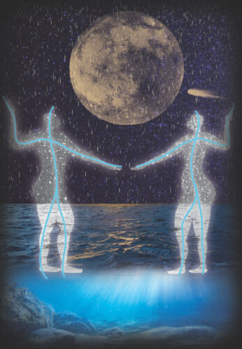 a graphic of two ghostly figures dancing on the sea under a full moon