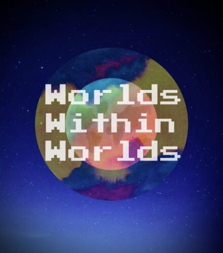 Worlds Within Worlds is in white text, using an old style blocky computer font. Underneath the words are two concentric colourful, abstract circles, which in turn are on a blue starry night sky background.