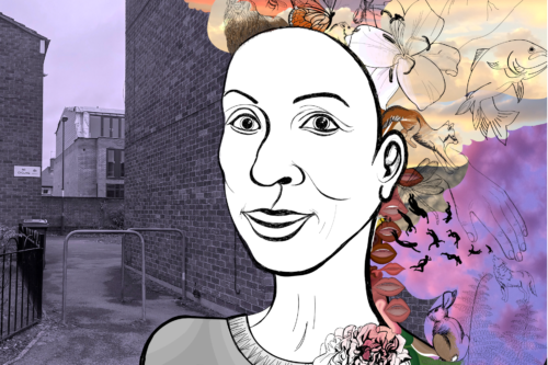 An illustrated image of a woman stands in front of a brick wall
