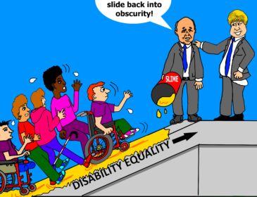 cartoon about tory policies taking disabled people further back