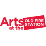 'Arts at the' in red on a white background. 'Old Fire Station' in white within a red rectangle.