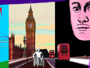 Digital painting of the artist/ wheelchair user on an empty road in front of Big Ben