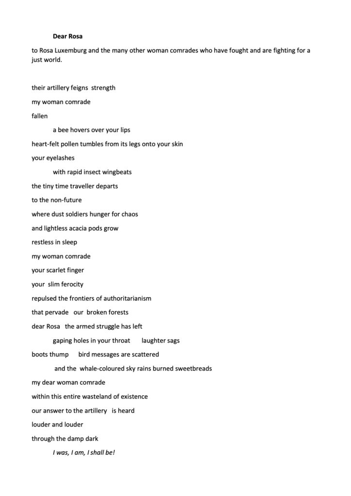 Image shows a poem called Dear Rosa. Follow the link to see full text.