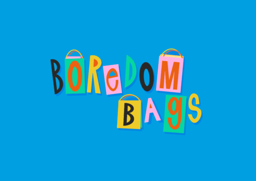 Boredom bags logo. A blue background with Boredom Bags in different colour capital letters. Some of the letters are framed as if they are in a bag.