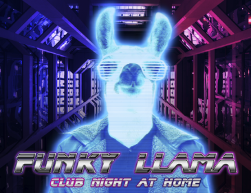 A neon picture of a llama wearing sunglasses and a jacket. Silver futuristic text reads: Funky llama Club Night at Home