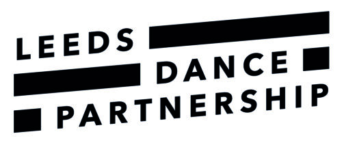 Leeds Dance Partnership Logo. In black capital type interspersed with bold black lines between words.