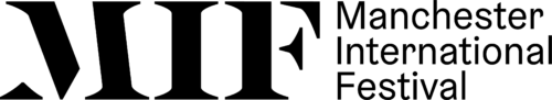 Manchester International Festival logo. Bold black MIF next to Manchester International Festival.