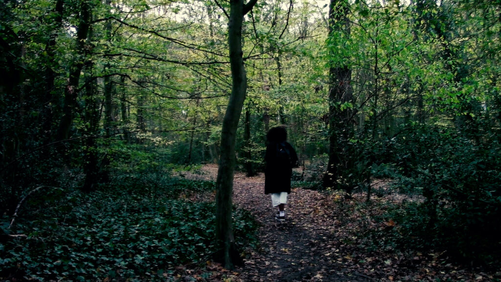 Still image of a figure moving through woodland