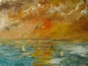 painting of boats at sea in vivid colours