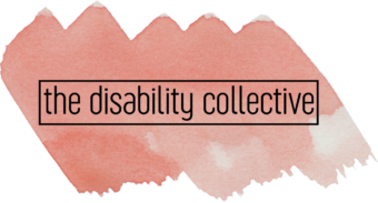 The Disability Collective logo, featuring the company name in black font against a coral swatch of water colour paint